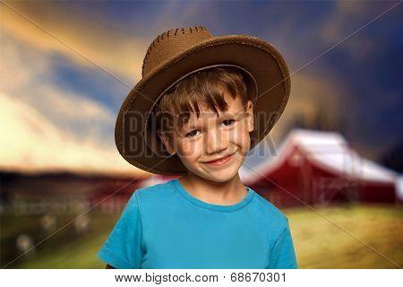 Little Boy In Cowboy Hat