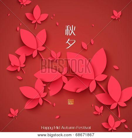 Vector Oriental Paper Maple Leaves. Translation, Main: Mid Autumn Festival (Chuseok), Stamp: Blessed Feast