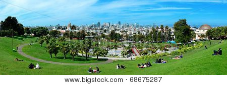 San Francisco, CA - MAY 11: Mission Dolores Park panorama on May 11, 2014 in San Francisco. SF is the most densely settled large city in California and the second-most in US.