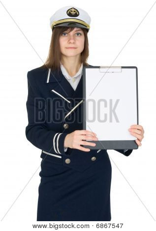 Woman In Sailor Suit On White With A Tablet In Hands