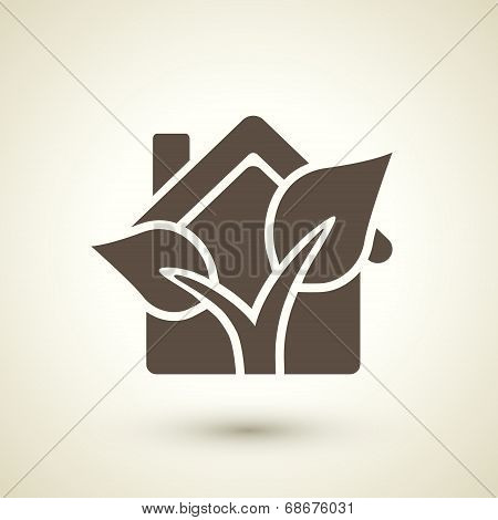 Ecology Flat Icon With House And Plant Elements