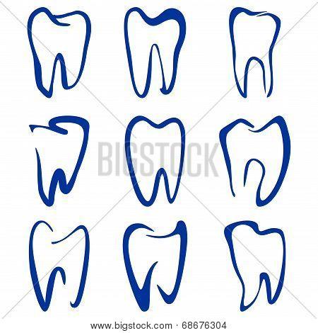 Abstract  teeth set sketch cartoon vector illustration