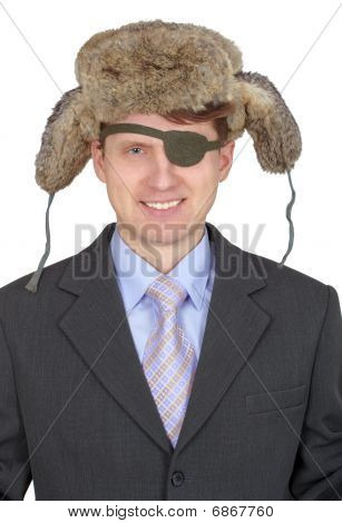 Laughing, One-eyed Man In Fur Hat, On White Background