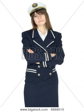 Serious Woman In Uniform Sea Captain On White Background