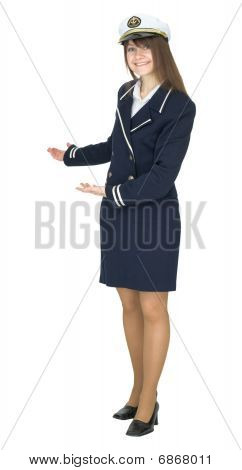 Hospitable Woman In Uniform Sea Captain, Isolated On White Background