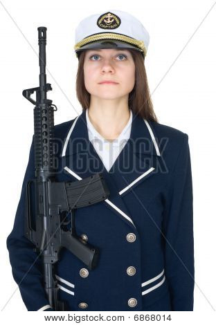 Woman In Uniform Sea Captain With Rifle, Isolated On White Background