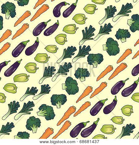 seamless pattern of eggplant carrot broccoli pepper