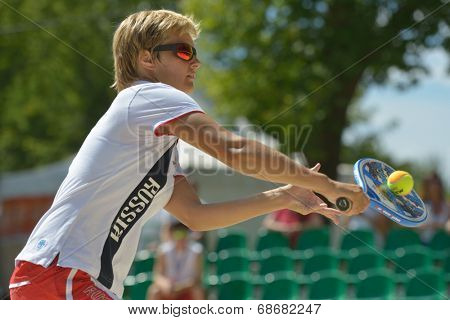 MOSCOW, RUSSIA - JULY 20, 2014: Daria Churakova of Russia in the match for the 3rd place against Germany during ITF Beach Tennis World Team Championship. Russia won 3-0