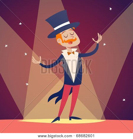 Circus Show Host Boy Man in Suit with Cylinder Hat Icon on Stylish Background Retro Cartoon Design V