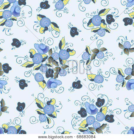blue winter rose seamless pattern