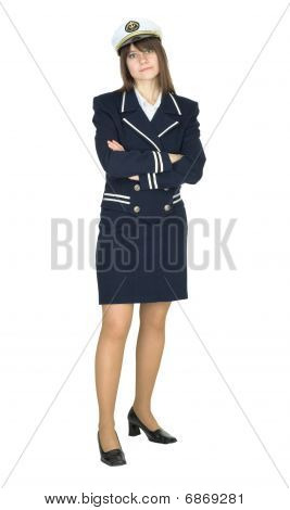 Unfriendly Woman In Sailor Suit Isolated On White