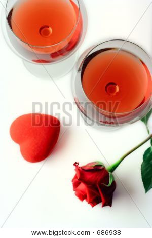 Two Wine Glasses, A Rose And A Heart