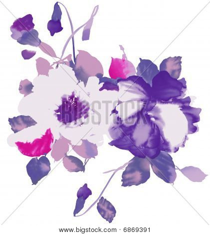Watercolor Of Purple Floral