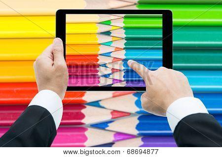 Businessman Hands Tablet Taking Pictures Close Up Color Pencils