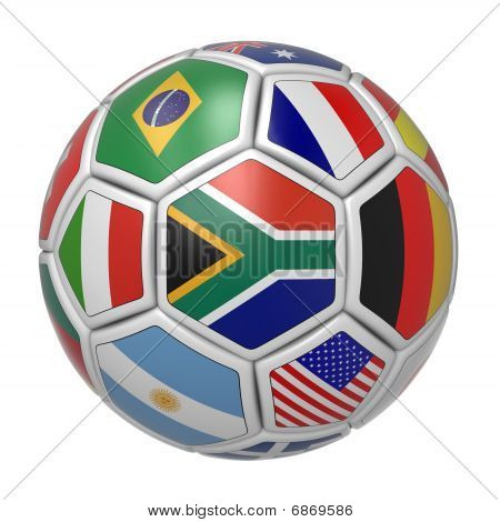 Soccer ball with South African flag in the front
