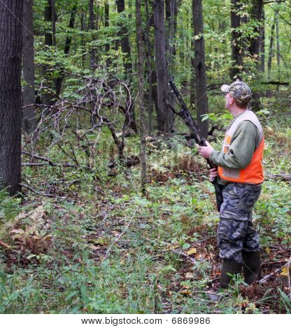 Bird Hunter In Safety Vest