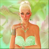 picture of thinkers pose  - A beautiful blonde woman in a contemplative pose - JPG
