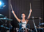 foto of drum-set  - Girl behind drum - JPG