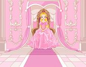 foto of throne  - Charming Princess sits on a throne in the pink hall - JPG