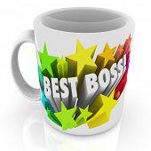 stock photo of terrific  - Best Boss words ceramic coffee cup or mug top leader - JPG
