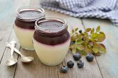 stock photo of panna  - Dessert panna cotta with fresh blueberry on wooden background - JPG