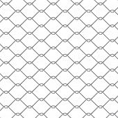 stock photo of chain link fence  - metal chain link fence seamless on white - JPG