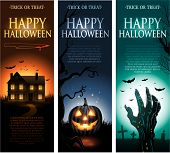 stock photo of tombstone  - Vertical vector Halloween invitation banners eps10 - JPG