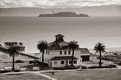 stock photo of alcatraz  - Alcatraz Island in San Francisco over Pacific Ocean - JPG