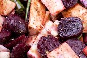 stock photo of parsnips  - Shot of Roasted vegetables with garlic beetroots and parsnips