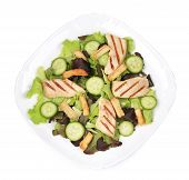 picture of caesar salad  - Plate of caesar salad with cucumbers - JPG