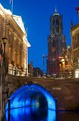 foto of dom  - Skyline with the Dom Tower and canal at dusk in Utrecht Netherlands - JPG