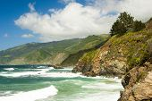 image of pch  - waves and cliffs and clouds in California - JPG