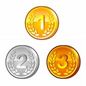 stock photo of arabic numerals  - Set of medals with arabic numerals and laurel wreath - JPG