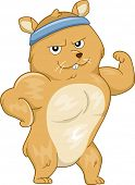 stock photo of buff  - Mascot Illustration Featuring a Buff Hamster Flexing its Muscles - JPG