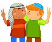 foto of coexist  - Muslim boy and Jewish boy being friends - JPG