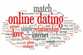 stock photo of soulmate  - Online dating issues and concepts word cloud illustration - JPG