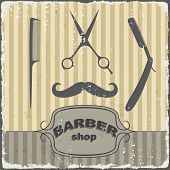 pic of barber razor  - Barber shop vintage retro typography template - JPG