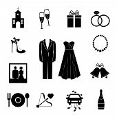 stock photo of memento  - Set of black silhouette vector wedding icons depicting a church  champagne  gift  rings  shoe  bride and groom  pearls  photograph  bells  food  beverage  Cupids arrow and decorated car - JPG