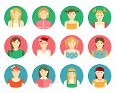 picture of auburn  - Vector set of twelve smiling girls and young women avatars in flat style with diverse faces  clothing  hairstyles  and hair colors on round web buttons for identification on the internet - JPG