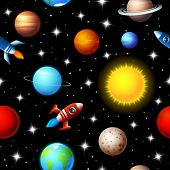 stock photo of outer  - Brightly colored background seamless kids design of rockets flying through a starry sky in outer space between a variety of planets in the galaxy in a travel and exploration concept - JPG