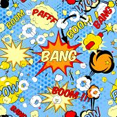 image of personality  - Seamless pattern background with comic book speech bubbles vector illustration - JPG
