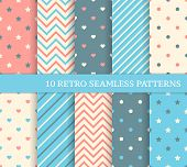 picture of zigzag  - 10 retro different seamless patterns - JPG