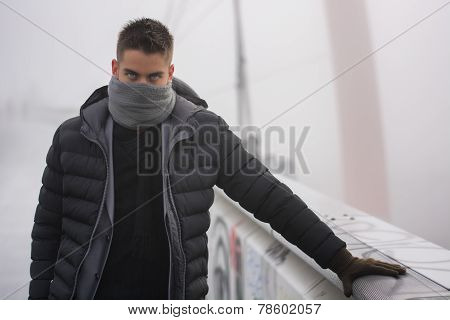 Young Man Outdoor In Winter Fashion