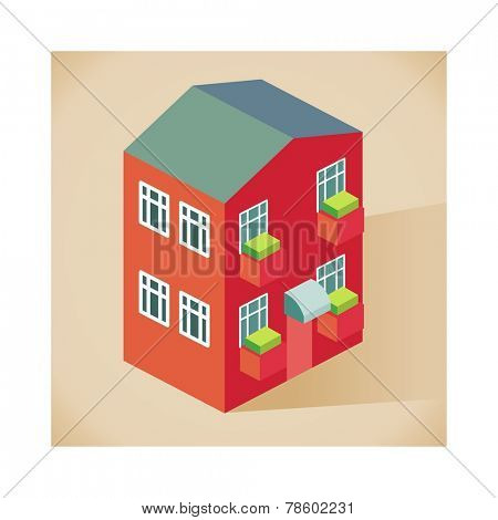 front side Apartment vector isometric style