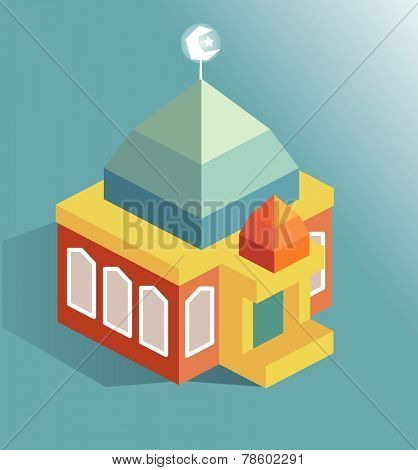 Islamic Mosque building. isometric vector