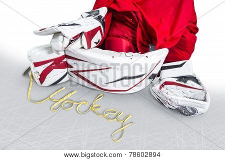 Hockey - Skate laces spells the word hockey