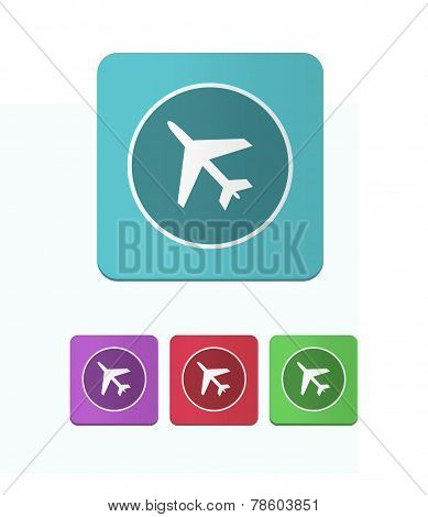 Four Icons With The Image Of An Airplane
