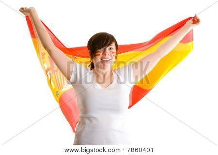 Young Attractive Female Holds Spanish Flag, Isolated On White