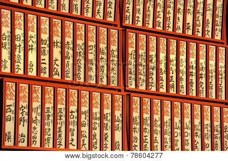 Wooden Japanese Prayer Tablets With Wishes In A Temple In Japan
