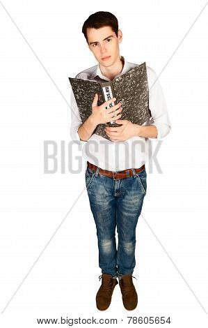 Young man presses his chest clerical folder with papers isolated vertical